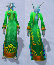 Festive Green Dress, Snow Background, NE Female