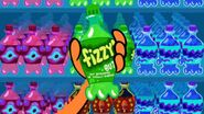 """S1e10a Bottle labelled """"Fizzy (but not refreshing or totally blorped)"""""""