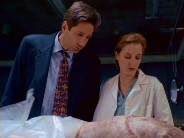 File:Fox Mulder and Dana Scully examine the Wiry Man's corpse.jpg