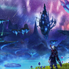 Artwork of Shulk overlooking Alcamoth