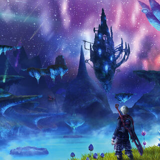 Artwork of Shulk overlooking Alcamoth