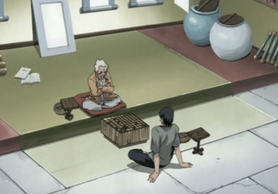 Asuma and Hiruzen playing Shogi