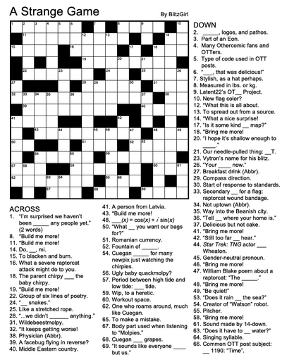 CrosswordAStrangeGame