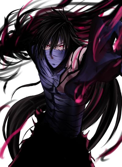 38008 - bandages black hair bleach hand extended kurosaki ichigo long hair red eyes solo