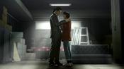 Majima grabs Makoto from falling