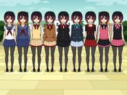 Azumi in all uniforms