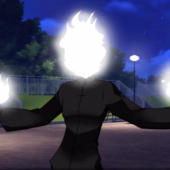 Flame Demon with his hands outstretched.