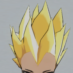 Spiky blonde hair.