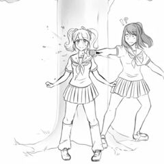 Yandere-chan unsuccessfully stabbing Rival-chan in the neck in