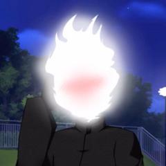 Flame Demon acting bashful.