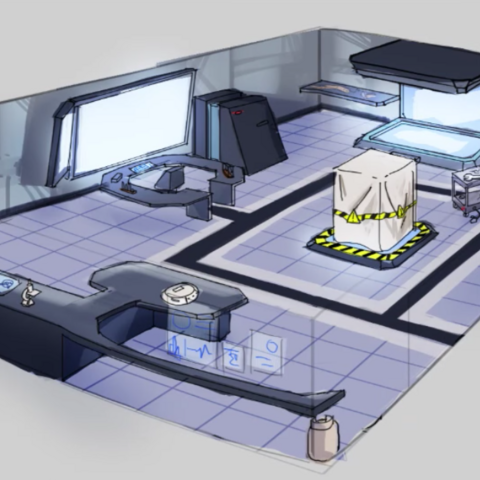 An illustration of what the clubroom may look like in the future. Shown in <a rel=