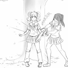 Yandere-chan trying to cut Rival-chan with a chainsaw.