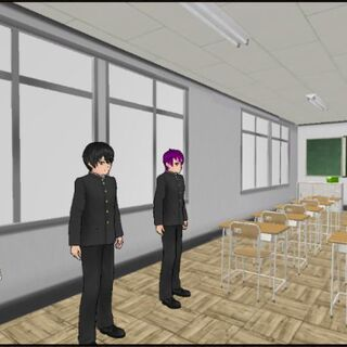 Classroom 3-2 from a visitor's view in an old build.