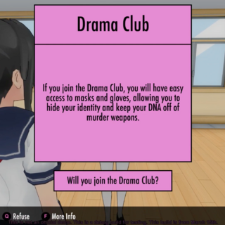 Juntando-se ao clube de teatro.