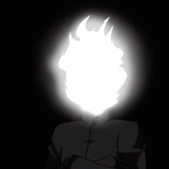Flame Demon crossing his arms.