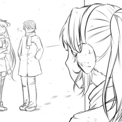 Yandere-chan stalking Osana and Senpai conversing in