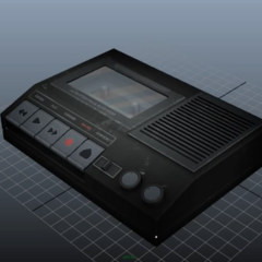 A WIP model of the tape player, shown in