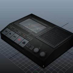 製作中的錄音帶播放器模型, 顯示在影片