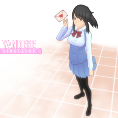 A design for Yandere-chan with an original uniform and hairstyle, shown in the blog post <a rel=