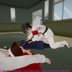 Um estudante herói apreendendo Yandere-chan