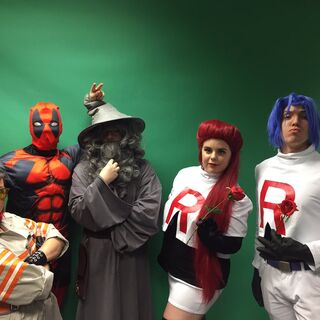 Katie (second from right) cosplaying as Jessie from Pokemon in <i>HighRollers: Lightfall</i> Episode 30.