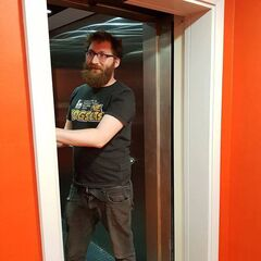 Tom after he was stuck in the lift at Yogscast Studios