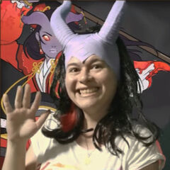 Kim wears a silicon replica of a pair of tiefling horns <a href=