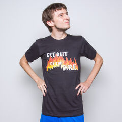 Crendor, modeling one of his most popular T-shirts.