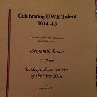 Ben's Intern of the Year Award.