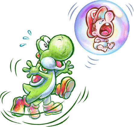 Floating Baby Mario amd yoshi
