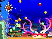 Yellow Yoshi swimming in the sea