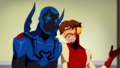 Impulse tries to keep Blue Beetle quiet.png