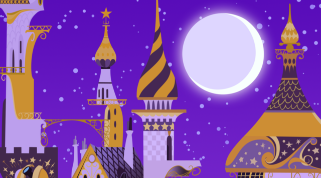 File:Canterlot palace spires at night by ze sammich-d4rgpft.png