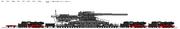 Schwerer Gustav 80cm E Dora rail gun with BR01 locomotives - Germany