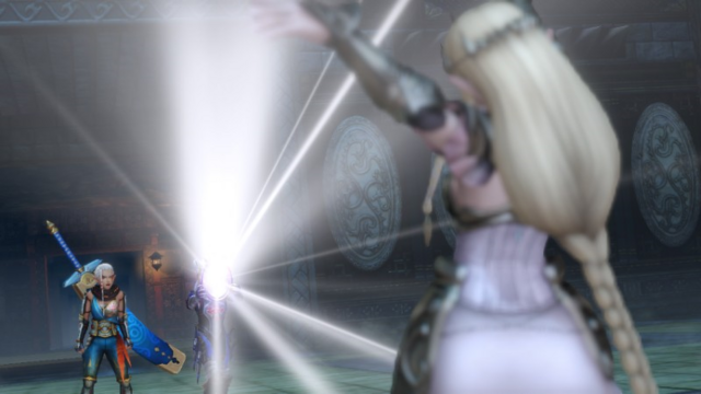 File:Hyrule Warriors The Water Temple Sheik exposing the Zelda Imposter with the Lens of Truth (Cutscene).png