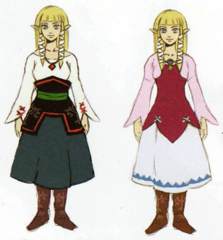 File:Skyward Sword Artwork Zelda - Beta Robe Designs (Early Concept Artwork).png