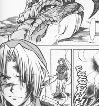 Volvagia and Link (Ocarina of Time manga)