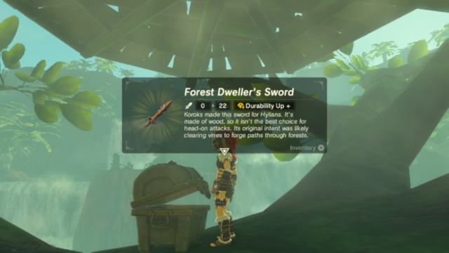 File:Breath of the Wild Korok Wooden Sword Forest Dweller's Sword (Floria Bridge).png