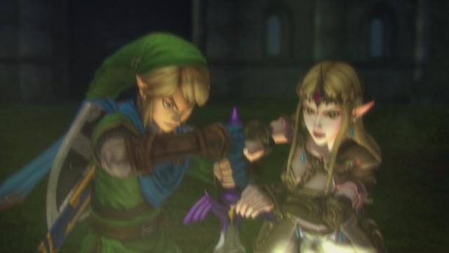 File:Hyrule Warriors Liberation of the Triforce Link & Zelda return the Master to its Sacred Pedestal (Cutscene).png
