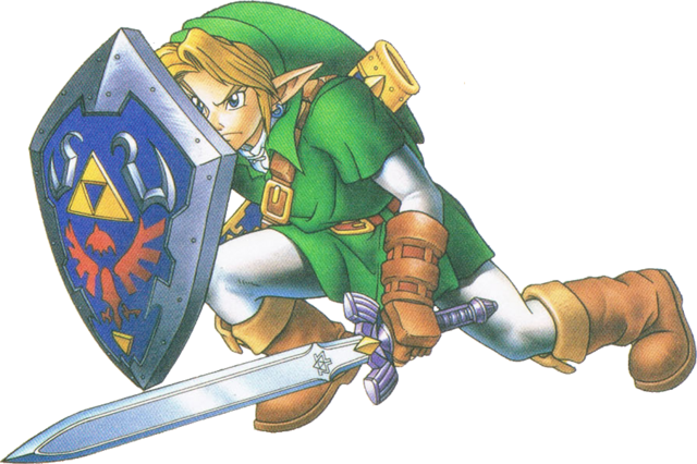 File:Link Defending (Ocarina of Time).png