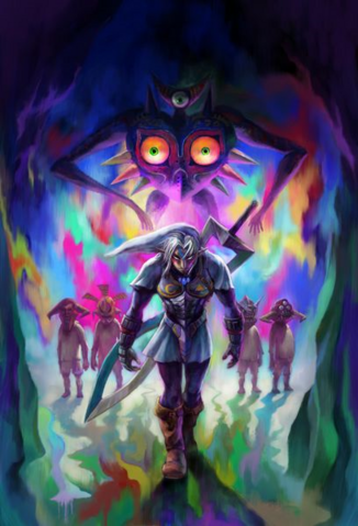 File:Majora's Mask 3D Artwork Fierce Deity, Majora's Incarnation, & Lunar Children (Offical Artwork).png