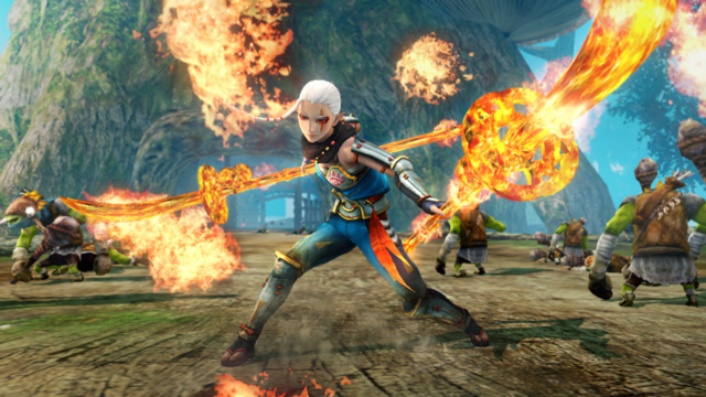 File:Hyrule Warriors Naginata Impa wielding her Guardian Naginata's made of fire (Level 1 Naginata).png