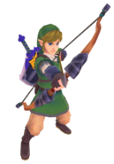 Skyward Sword Bow Link wielding the Wooden Bow (Render)