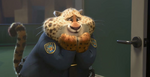 Clawhauser squeeing from realizing Chief Bogo uses the Gazelle app